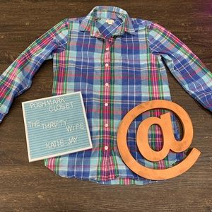 J Crew Blue Plaid Fall Button Up Top Size X-small